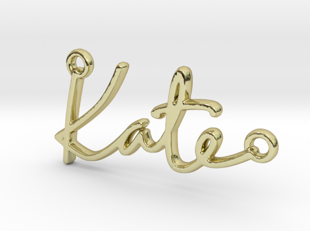 Kate Script First Name Pendant in 18k Gold Plated Brass