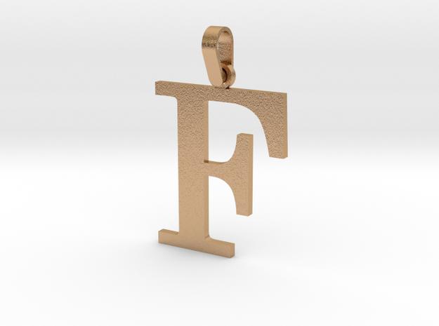 F Letter Pendant in Natural Bronze (Interlocking Parts)