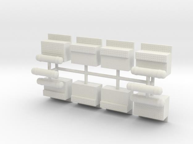 1/32 Peterbilt type Step Battery Tool Box set in White Natural Versatile Plastic