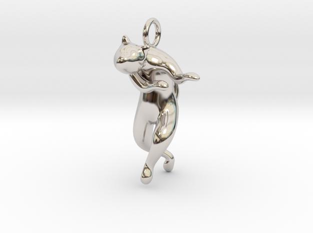cat_008 in Rhodium Plated Brass