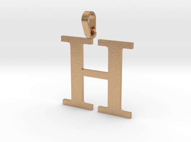 H Letter Pendant Small in Natural Bronze (Interlocking Parts)