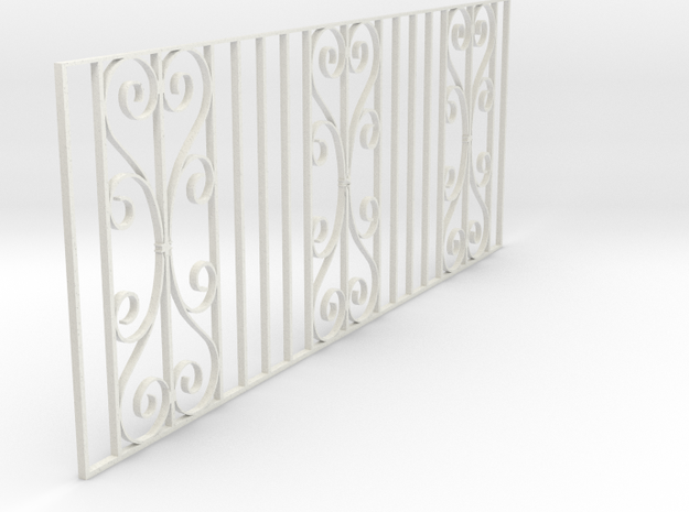 Dolls House Fence 1/24 scale in White Natural Versatile Plastic