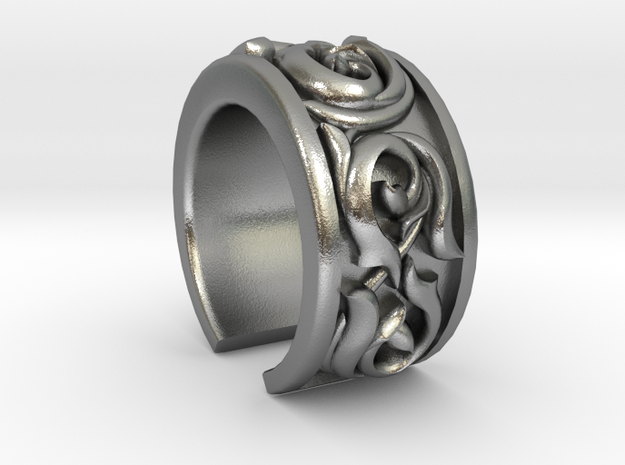 Japanese Pattern Open Ring in Natural Silver