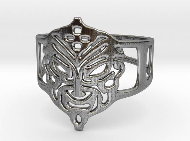 Aztec Mask Ring in Antique Silver
