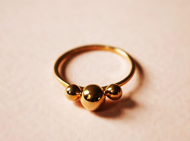 Three Spheres Ring in 18k Gold Plated Brass: Small