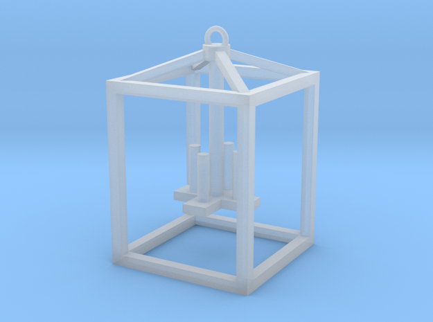 Lantern with faux candles -Medium in Smooth Fine Detail Plastic