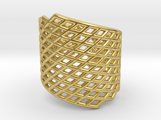 Grid Ring in Polished Brass