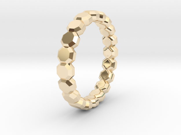 Octagonal Gemstone Style Ring in 14k Gold Plated Brass: 6 / 51.5