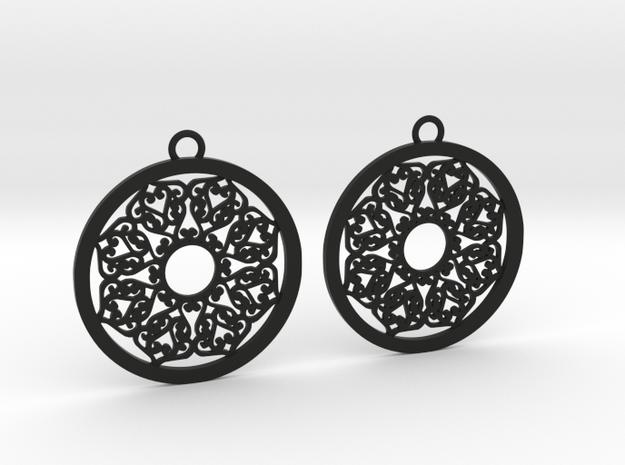 Ornamental earrings no.2 in Black Natural Versatile Plastic
