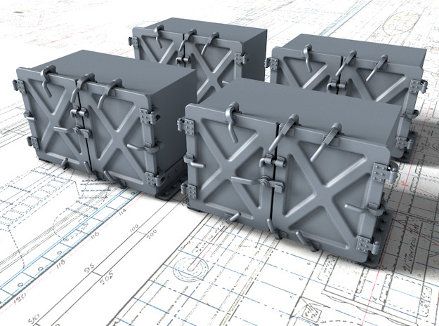 """1/35 Royal Navy 4"""" Ready Use Lockers (Small) x4 in Smooth Fine Detail Plastic"""