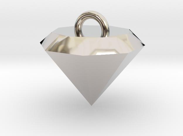 Diamond Necklace in Rhodium Plated Brass