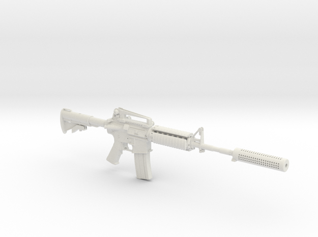 1/3rd Scale M4A1 Suppressed  in White Natural Versatile Plastic