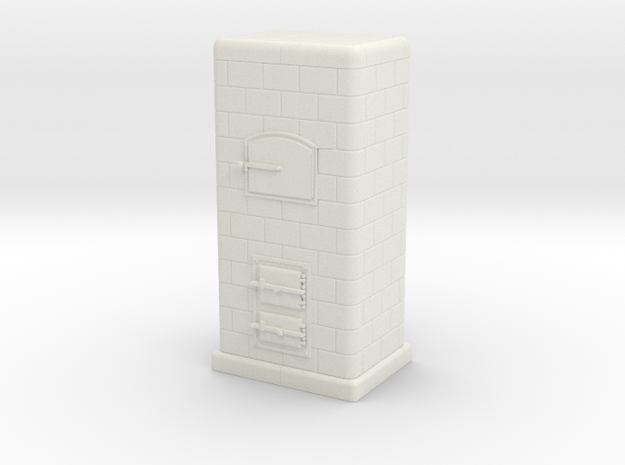 H0 Tiled coal-burning stove 1:87 (Id) in White Natural Versatile Plastic