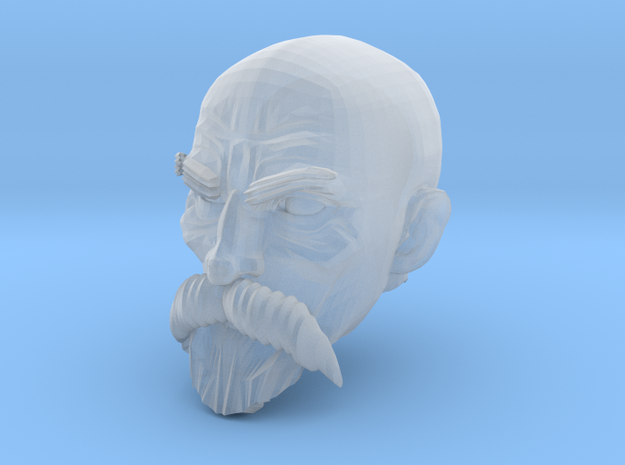 Bald Head with facial hair 1 in Smooth Fine Detail Plastic