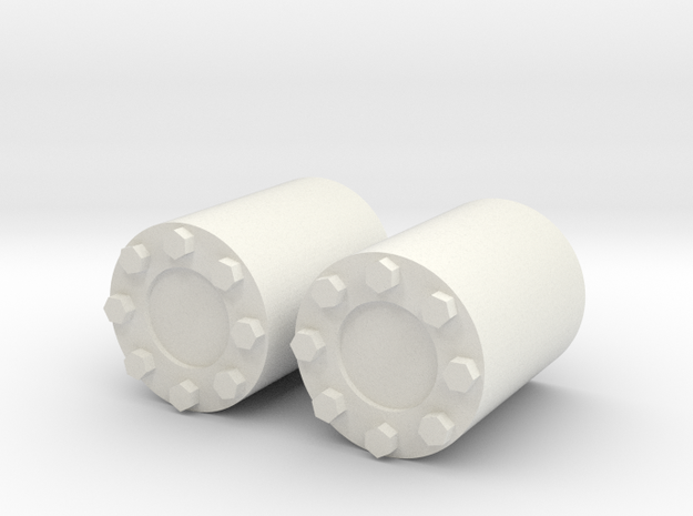 Rear wheel hub for Tamiya Tractor Truck 1/14 Nabe in White Natural Versatile Plastic