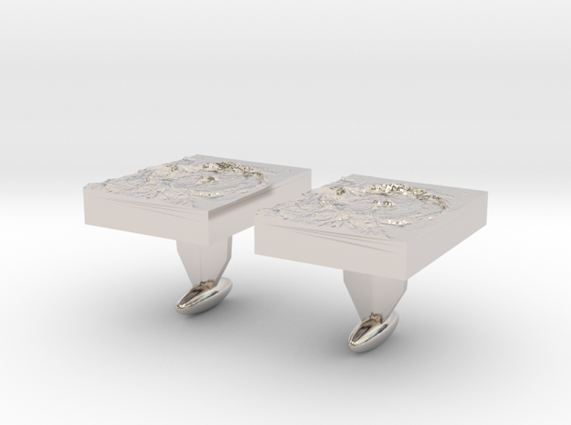 Moon Crater Cuff links in Rhodium Plated Brass
