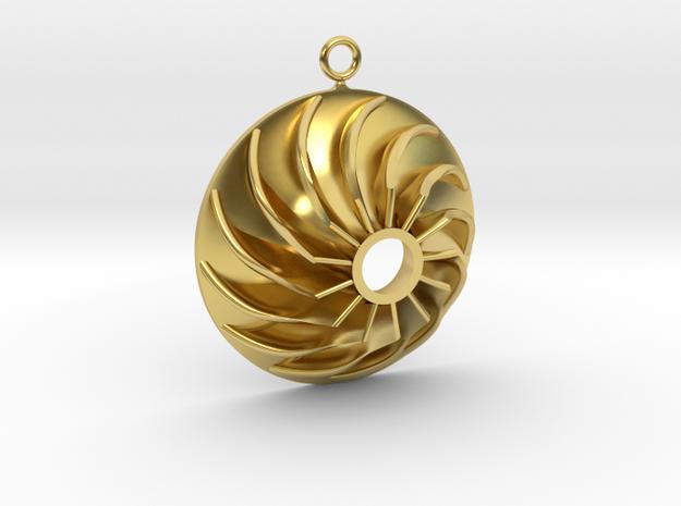 Impeller Earring in Polished Brass