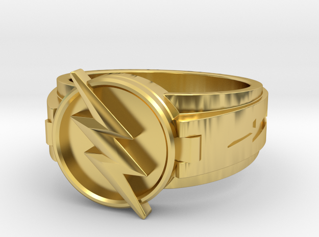 v3 reverse flash ring size 10 19.84mm in Polished Brass
