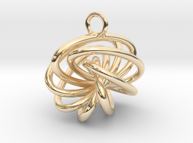 7-Knot Earring 15mm wide in 14k Gold Plated Brass