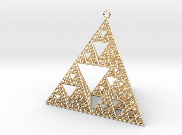 Sierpinski Tetrahedron earring with 64mm side in 14k Gold Plated Brass