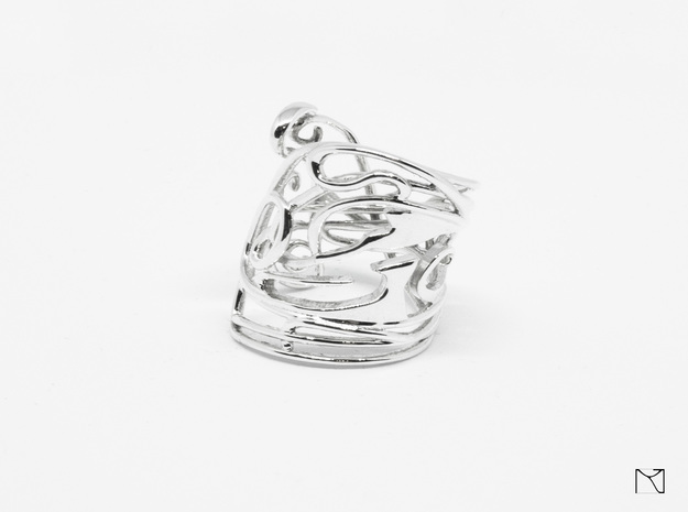Ring Art déco Style in Polished Silver: 8 / 56.75