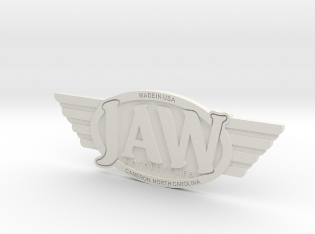 JAW Motorcycles Emblem  in White Natural Versatile Plastic