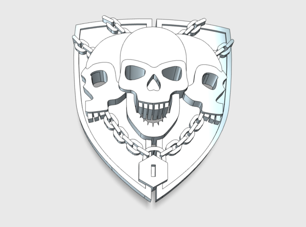 20x 3 Skull Shield: Bent Insignia pack  in Smooth Fine Detail Plastic