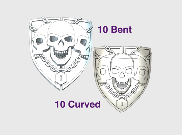 3 Skull Shield: 10x Bent/ 10x Curved Insignias in Smooth Fine Detail Plastic