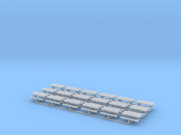 Picnic Tables Z Scale in Smooth Fine Detail Plastic