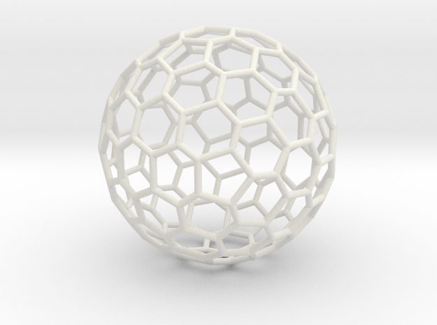 Goldberg polyhedron GP(3, 0) in White Natural Versatile Plastic: Large