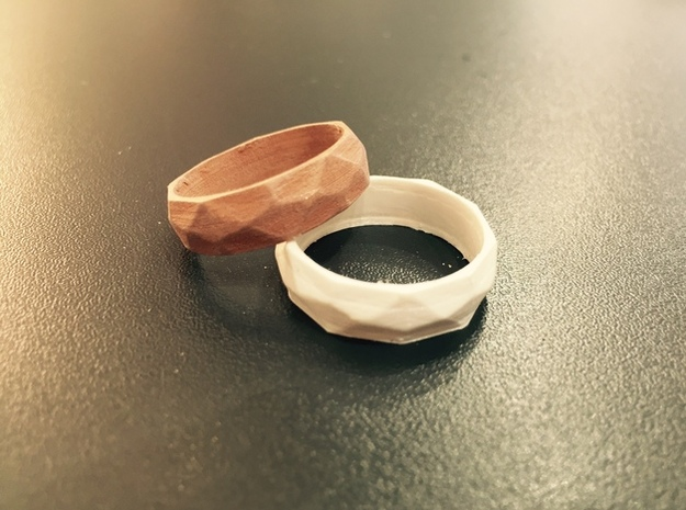 Ring with beautiful poly pattern for man and women in White Natural Versatile Plastic: 6.5 / 52.75