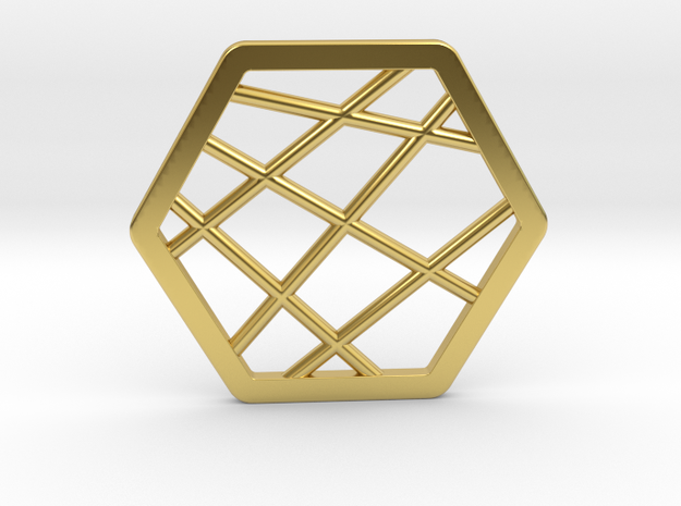 Hex Pendant in Polished Brass