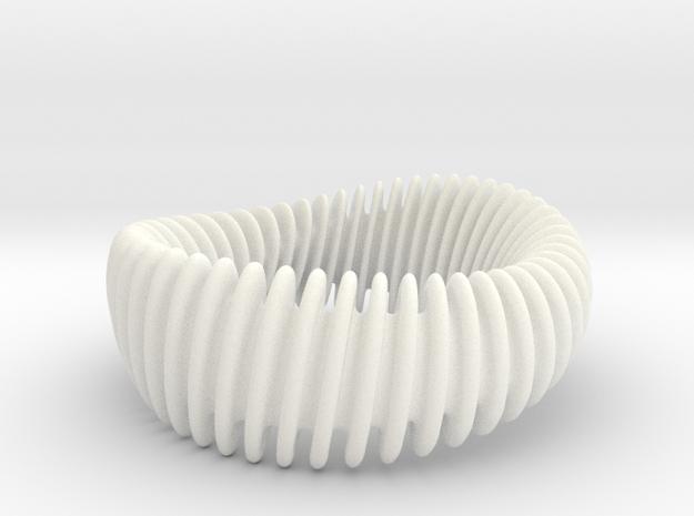 WAVE_012 reduce SMOOTH-Twist Wide Bracelet in White Processed Versatile Plastic