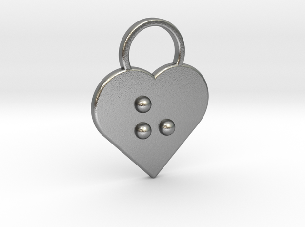 """""""h"""" Braille Heart in Natural Silver"""