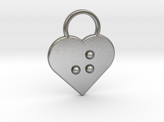 """""""j"""" braille heart in Natural Silver"""