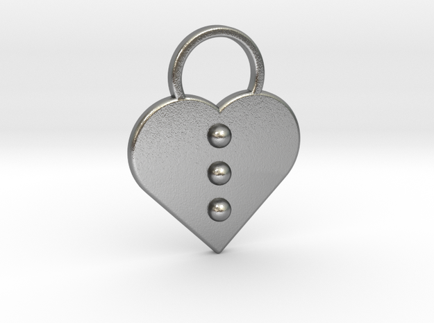 """""""l"""" Braille Heart in Natural Silver"""