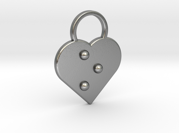 """""""o"""" Braille Heart in Natural Silver"""