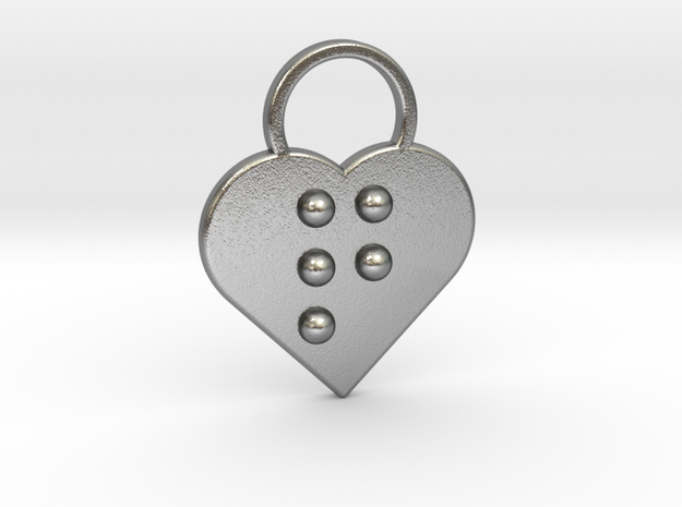 """""""q"""" Braille Heart in Natural Silver"""