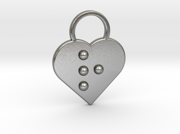 """""""r"""" Braille Heart in Natural Silver"""