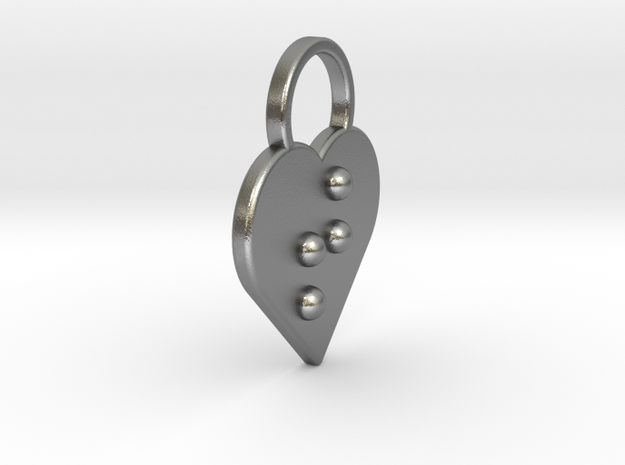 """""""t"""" Braille Heart in Natural Silver"""