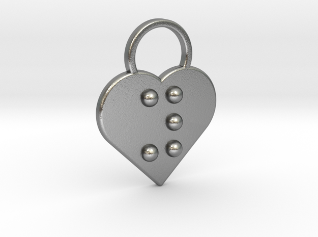 """""""y"""" Braille Heart in Natural Silver"""