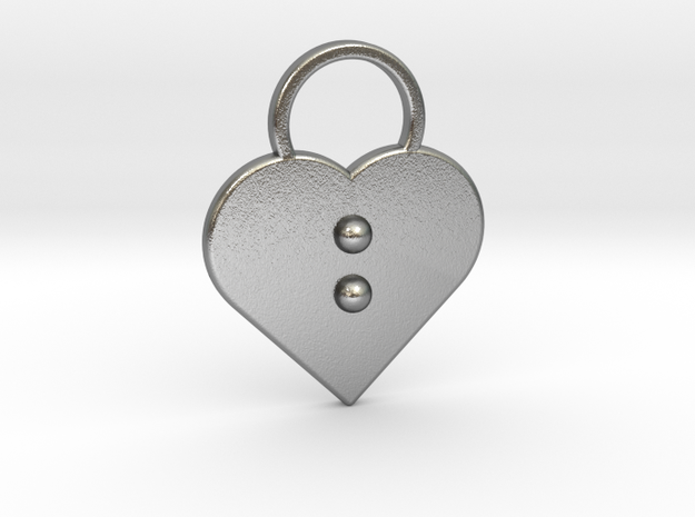 """""""b"""" Braille Heart in Natural Silver"""