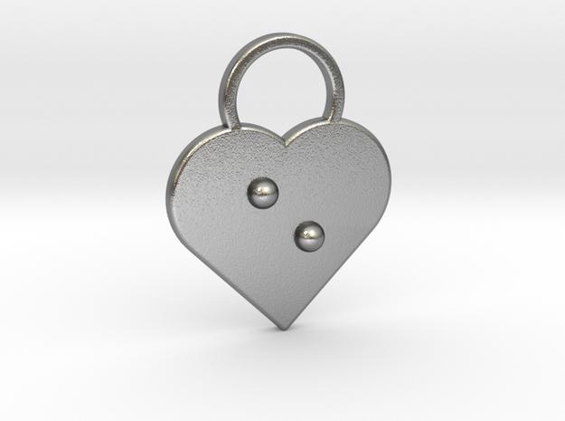 """e"" Braille Heart in Natural Silver"