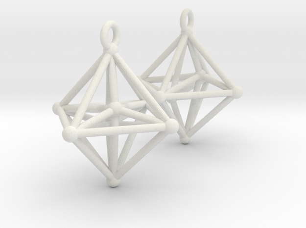 Hyperoctahedron Earrings in White Natural Versatile Plastic