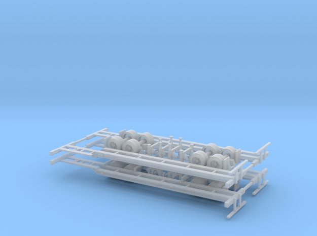 N 40' Container Chassis 4 Pack v1 in Smooth Fine Detail Plastic