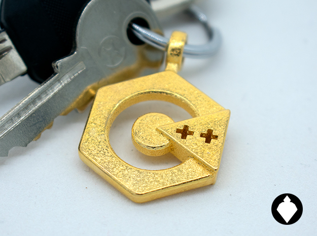 C++ Keychain in Polished Gold Steel