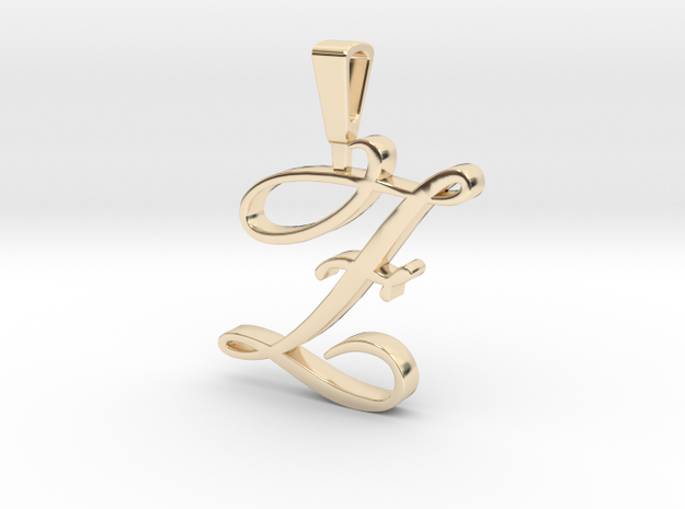 INITIAL PENDANT Z in 14k Gold Plated Brass