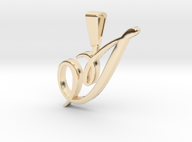 INITIAL PENDANT I in 14k Gold Plated Brass
