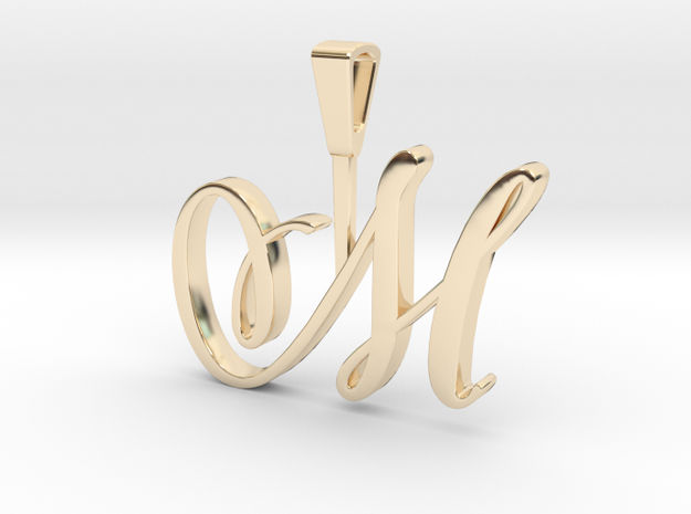 INITIAL PENDANT M in 14k Gold Plated Brass