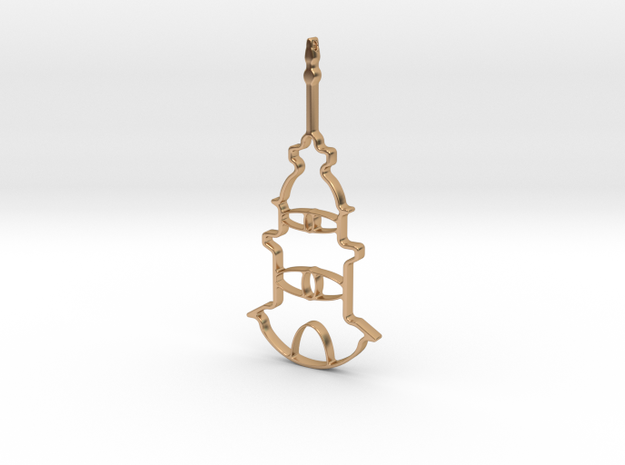 Tower Necklace-46 in Polished Bronze